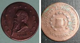 A VOIR Rare Monnaie/médaille En Cuivre, 1863 L ROLOFF, New-York Gustavus Lindenmueller, Pièce - Coins & Banknotes