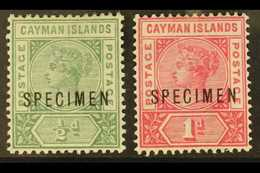 "1900 ½d Green, 1d Rose-carmine, ""SPECIMEN"" Overprints, SG 1s/2s, Mint (2). For More Images, Please Visit Http://www.sand - Cayman Islands"