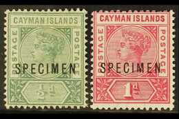 """1900 1½d And 1d Overprinted """"Specimen"""" (1d Creased), SG 1s/2s, Mint. Scarce. (2 Stamps) For More Images, Please Visit Ht - Cayman Islands"""