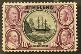 "1934 10s Black & Purple ""Centenary"", SG 123, Fine Mint For More Images, Please Visit Http://www.sandafayre.com/itemdetai - Saint Helena Island"