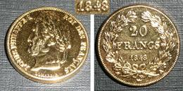 Copie Pièce De Monnaie En Métal Doré, 20 Francs 1848, Louis Philippe I 1er Roi Des Français, France, Domard - Coins & Banknotes