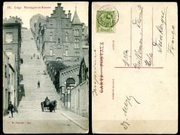 CP   Liège   ---   1908  --  Montagne De Bueren  --  Animé Avec Charrette - Liege