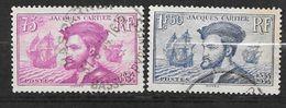 France N° 296 Et 297 Jacques Cartier       Oblitérés  B/TB  ............soldé à Moins De 20  % ! ! ! - Gebruikt