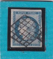 CERES  N° 4a Bleu Foncé + OBLITERATION GRILLE -REF 17150 / Cote 70€ - 1849-1850 Cérès