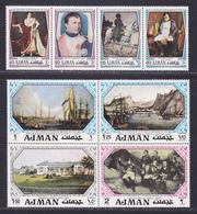 AJMAN POSTES, AERIENS N° 116 ** MNH Neufs Sans Charnière, 8 Valeurs, TB (CLR282) 150 Ans Mort De Napoléon - Ajman