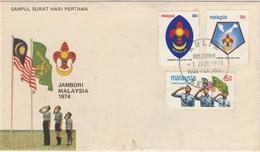 MALAISIE 1974 Malaysia Scout Jamboree FDC SG#117-119 - Malaysia (1964-...)