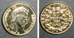Copie Pièce De Monnaie En Métal Doré, 20 Francs 1856, Empire Français, France, Louis Napoléon III Empereur Bonaparte 3 - Origen Desconocido