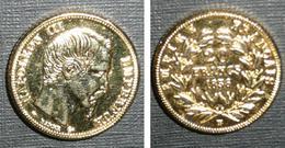 Copie Pièce De Monnaie En Métal Doré, 20 Francs 1856, Empire Français, France, Louis Napoléon III Empereur Bonaparte 3 - Origine Inconnue