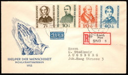 GER SC #344-7 (Mi 222-5) 1955 S-P/Portraits FDC 11-15-1955 Registered Mail/Lorch (Wurtt.) - FDC: Covers