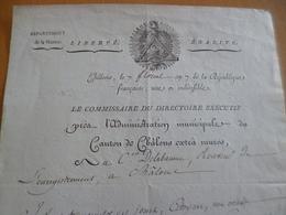 Révolution Chalons 7 Floreal An VII Autographe Gambels Pour Delabaume à Propos Des Patentes Belle Vignette - Autografi