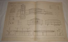 Plan Du Nouvel établissement Des Bains à Enghien, Près De Paris. 1864 - Travaux Publics