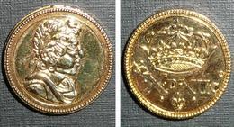 Copie D'une Ancienne Pièce De Monnaie En Métal Doré, Empereur à Couronne De Laurier, ?? Napoléon ??X.D.XII.c Lys - Monnaies & Billets