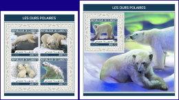 DJIBOUTI 2018 MNH** Polar Bears Eisbären Polarbären Ours Polaires M/S+S/S - OFFICIAL ISSUE - DH1813 - Bären