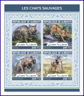 DJIBOUTI 2018 MNH** Wild Cats Wildkatzen Chats Sauvages M/S - IMPERFORATED - DH1813 - Raubkatzen