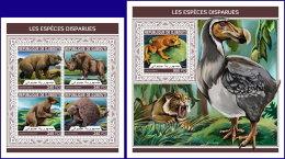 DJIBOUTI 2018 MNH** Extinct Species Ausgestorbene Tiere Especes Disparues M/S+S/S - IMPERFORATED - DH1813 - Briefmarken