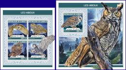 DJIBOUTI 2018 MNH** Owls Eulen Hiboux M/S+S/S - IMPERFORATED - DH1813 - Eulenvögel