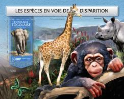 TOGO 2018 MNH** Endangered Species Bedrohte Tiere Animaux Disparition S/S - IMPERFORATED - DH1813 - Briefmarken