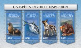 TOGO 2018 MNH** Endangered Species Bedrohte Tiere Animaux Disparition M/S - IMPERFORATED - DH1813 - Briefmarken