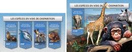 TOGO 2018 MNH** Endangered Species Bedrohte Tiere Animaux Disparition M/S+S/S - IMPERFORATED - DH1813 - Briefmarken