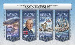 TOGO 2018 MNH** Roald Amundsen North + South Pole M/S - IMPERFORATED - DH1813 - Polarforscher & Promis