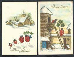 +++ Lot 2 CPA - Carte Fantaisie - Coccinelle - Trèfle - Voeux Bonne Année   // - Insects