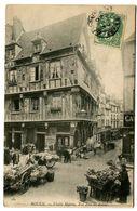 CPA 76 Seine Maritime Rouen Vieille Maison Rue Eau De Robec Animé - Rouen
