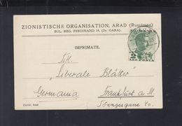 Romania PC Sionist Organisation Arad 1935 Judaica - 1918-1948 Ferdinand, Carol II. & Mihai I.