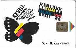 Czechoslovakia - CSFR Telecom - Cinema Fest. Karlovy Vary, Butterfly - 100Units, 1992, 10.000ex, Used - Czechoslovakia