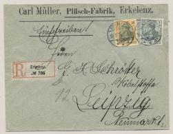 Deutsches Reich - 1906 - 25 + 5 Pf Germania On R-cover From Erkelenz To Leipzig - Brieven En Documenten