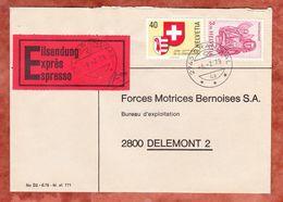 Vordruckbrief, Eilsendung Expres, MiF Matthaeus U.a., Grandval Nach Delemont 1979 (49507) - Covers & Documents