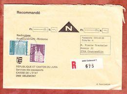 Vordruckbrief, Einschreiben Reco, Nachnahme, MiF Engelberg U.a., Delemont Nach Courrendlin (49510) - Suisse