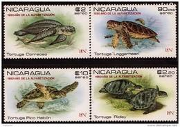 """NICARAGUA TURTLES OVERPRINTED """"1980 AÑ0 DE LA ALFABETIZACION"""" MNH - Schildkröten"""