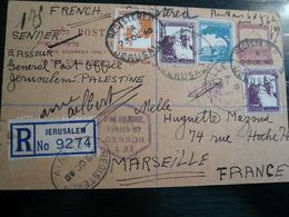 Palestine 1940 Multifranked Registered Stationery Card  To France Arrival Back - Palestina