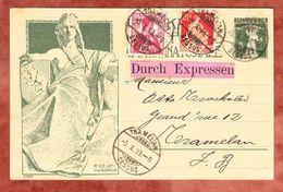 P 38 Weltpostdenkmal + ZF, Eilsendung Expres, Innerhalb Tramelan Dessus 1909 (49517) - Entiers Postaux