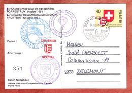 Karte, Heissluftballon-Meisterschaft, EF Wappen + Vignette, Porrentruy Nach Delemont 1981 (49518) - Suisse