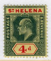 St Helena King Edward VII 4d Black And Red/yellow Stamp From 1908.  This Stamp Is In Mounted Mint Condition. - Saint Helena Island
