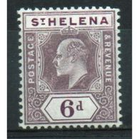 St Helena King Edward VII 6d Dull And Deep Purple Stamp From 1908.  This Stamp Is In Mounted Mint Condition. - Saint Helena Island
