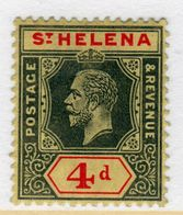 St Helena King George V 4d Black And Red/Yellow Stamp From 1912.  This Stamp Is In Fine Used Condition. - Saint Helena Island
