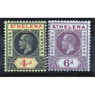 St Helena King George V 4d Black And Red/Yellow And 6d Dull And Deep Purple Stamps From 1913. - Saint Helena Island