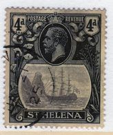 St Helena King George V  4d Grey And Black/Yellow Stamp From 1922.  This Stamp Is In Fine Used Condition And Is Catalogu - Saint Helena Island
