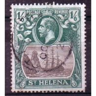 St Helena King George V 1/6d Grey And Blue/Green Stamp From 1922.  This Stamp Is In Fine Used Condition. - Saint Helena Island