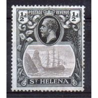 St Helena King George V ½d Black And Grey Stamp From 1922.  This Stamp Is In Mounted Mint Condition. - Saint Helena Island