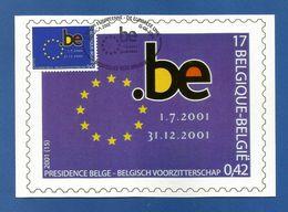 Belgien 2001  Mi.Nr. 3064 , EUROPA Sympathie Mitläufer  Vorsitz Belgiens In Der EU - Maximum Card - Bruxelles 15-06-2001 - Europa-CEPT