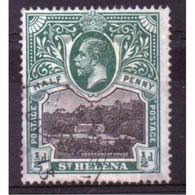 St Helena King George V ½d Black And Green Stamp From 1912.  This Stamp Is In Fine Used Condition. - Saint Helena Island