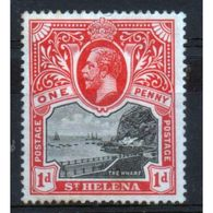 St Helena King George V 1d Black And Red Stamp From 1912.  This Stamp Is In Mounted Mint Condition. - Saint Helena Island