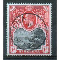 St Helena King George V 1d Black And Scarlet Stamp From 1912.  This Stamp Is In Fine Used Condition. - Saint Helena Island