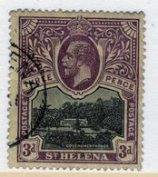 St Helena King George V 3d Black And Purple/Yellow Stamp From 1912.  This Stamp Is In Fine Used Condition. - Saint Helena Island