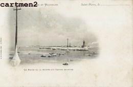 SAINT-PIERRE-ET-MIQUELON LE PHARE DE LA POINTE AUX CANONS EN HIVER 1900 - Saint-Pierre-et-Miquelon