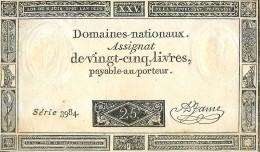 ASSIGNAT DE VINGT-CINQ LIVRES 25 SERIE 3984 MONNAIE BILLET NUMISMATIQUE - Assignats & Mandats Territoriaux
