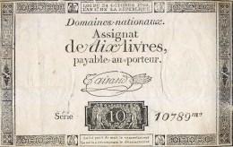 ASSIGNAT DE DIX LIVRES 10 SERIE 10789 MONNAIE BILLET NUMISMATIQUE - Assignats & Mandats Territoriaux